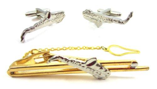 Gold Saxophone Cufflink and Tie Bar Set