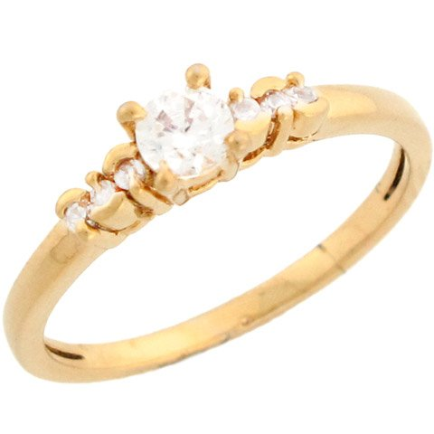 14k Yellow Gold Round CZ Promise Ring With Pretty Side Stone Design