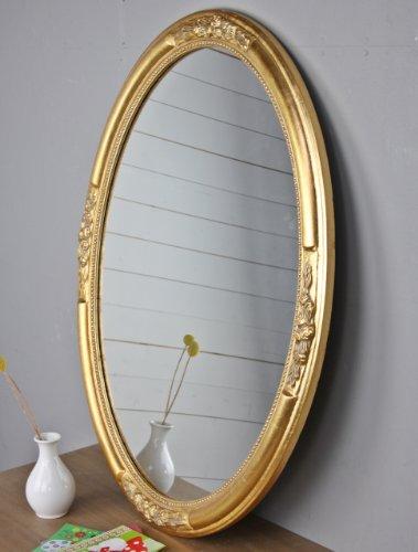 Wandspiegel SPIEGEL OVAL gold barock Holz Verzierungen rund Badspiegel pompös