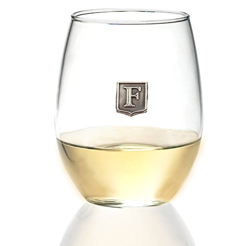 Premium Monogrammed Stemless Wine Glass By Fine Occasion - Great Personalized Gift Idea - Handmade Polished Pure Pewter Crest - Unique & Practical Customized Present - Pick Your Letter (O) - 21 oz