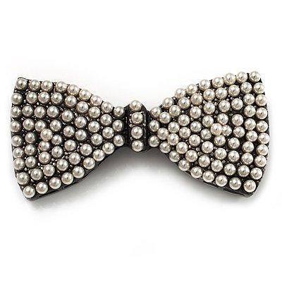 Vintage Pearl Style Bow Brooch (Gun Metal)