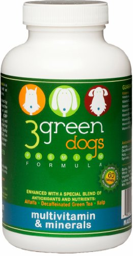 Pet Supplement 3 Green Dogs Multi Vitamins &#038; Minerals &#8211; 2 to 4 Months Supply Based on Weight