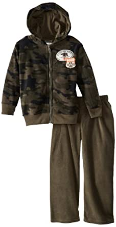 Little Rebels Boy's 2-7 2 Piece Black Bear Fleece Jacket Set, Green, 5