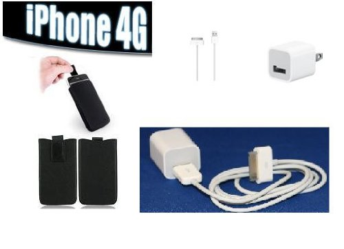 Brand New 3 in 1 Super Deal Original Data Cable USB Charger + Iphone Leather Slip-in case (black)