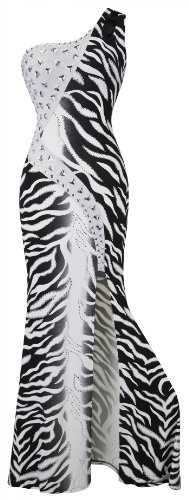 Angel-fashions Women's One Shoulder Zebra Print Furcal Slim Maxi Evening Gown Medium