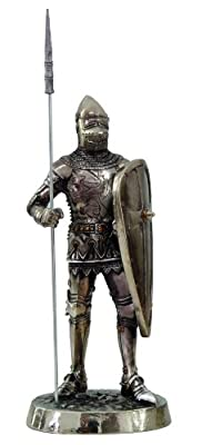 7 Inch Medieval Knight with Spear and Shield Statue Figurine