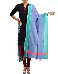 Unnati Silks Women Blue Pure Handloom Andhra Khadi Cotton dupatta