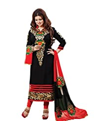 Sonal Trendz Black Color Cotton Embroidered Dress Material.Party Wear Festive Wear.