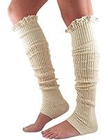 Tirain Women Knitted Flat Button Down Crochet Leg Warmers with Lace Trim FBA