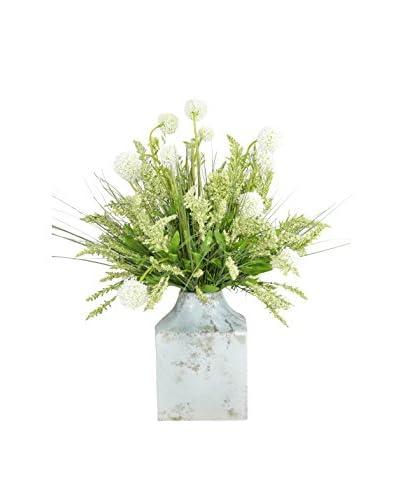 Creative Displays Allium & Heather Bouquet in a Rustic Container
