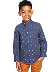 Pure Cotton Button-Down Collar Floral Shirt