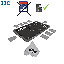 JW MCH-MSD10GR Credit Card Size Durable Lightweight Portable Memory Card Case Holder Protector With Writable Label For 10 Micro SD Cards + JW Cleaning Cloth