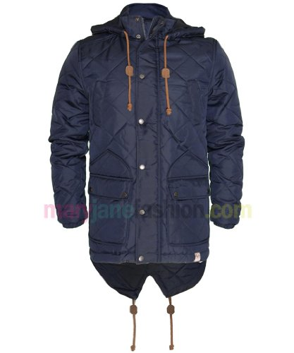 Mens Navy Blue Bellfield Padded Diamond Quilted Hooded Long Zip Up Coat Jacket M