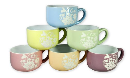 Francois et Mimi 14-Ounce Colored Ceramic Coffee/Soup Mugs, Large, Daisy Pastel, Set of 6