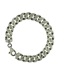 Tuscany Silver Oxidised Flat Large Curb Bracelet 20cm/8