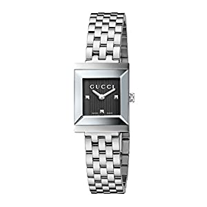 Gucci G-Frame Collection Women's Quartz Watch with Grey Dial Analogue Display and Stainless Steel Bracelet YA128403