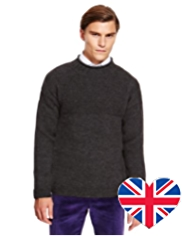 Best of British Pure Wool Crew Neck Knitted Jumper