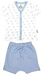 BIO KID Clothing Set for Kids (BB1I-T182-68_3-6 Months, 3-6 Months, White / Blue)