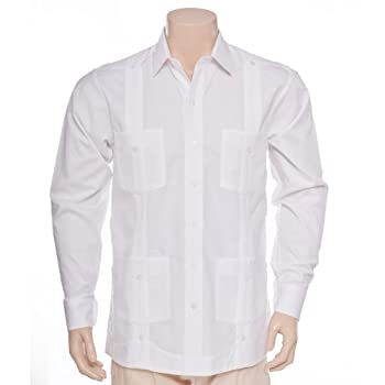 Deluxe Long Sleeve optical White Guayabera by Mycubanstore