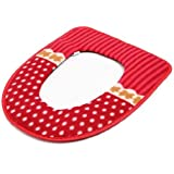 42x36cm Washable Bathroom Dot Toilet Seat Cover Closestool Seat Cushion Plush Pad (Red)
