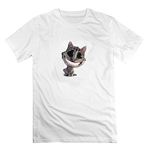 Alice In Wonderland Cat Customized Men Organic Cotton Gray Short Sleeves
