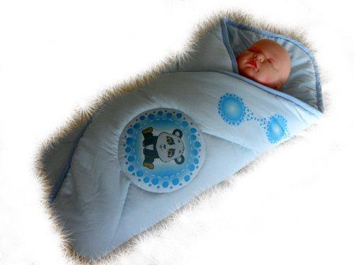 Blueberry Shop Newborn Baby Swaddle Wrap Blanket Duvet Sleeping Bag Snuggle Wrap Blue Panda