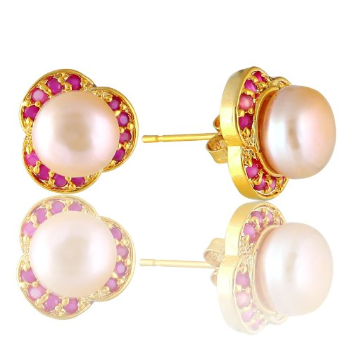 Rizilia Fashion Jewellery Lady Red Ruby Pearl Yellow Gold Stud Earrings Earings Gift~~