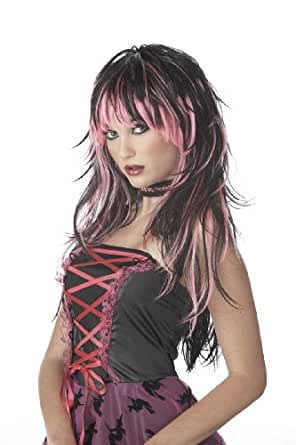 California Costumes Women's Tempting Tresses Wig, Pink/Black,One Size