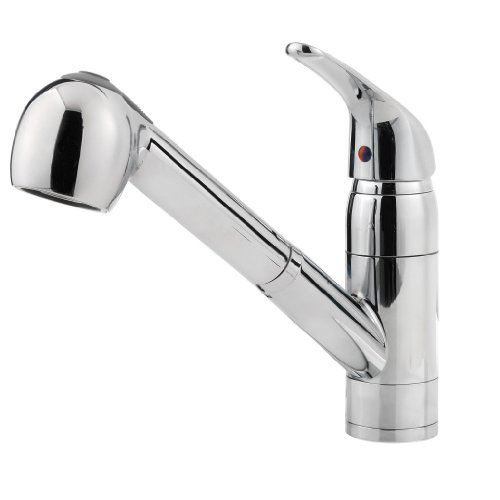 Pfister G133-10CC Pfirst Series Single Handle 1 or 3-Hole Pull-Out Lead Free Kitchen Faucet, Polished Chrome