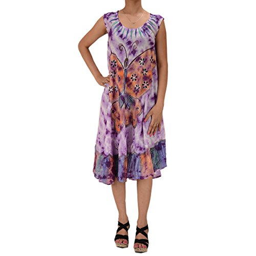 Skirts & Scarves Rayon Butterfly Caftan Tie N Dye Embroidered Sleeveless Dress For Women (Light Purple)