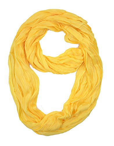 Plum-Feathers-Light-Weight-Silky-Scrunch-Solid-Infinity-Loop-Silk-Cotton-Scarf-Yellow