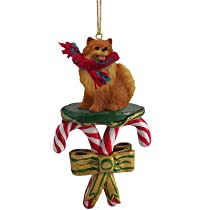 Pomeranian Candy Cane Christmas Ornament