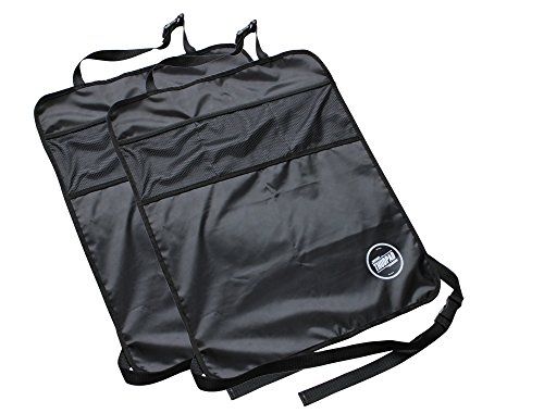Kick Mats - Car Seat Back Protectors (2-pack, Black) - Auto Backseat Kids Mini Organizer with its Built-in Mesh Pocket - Durable, Water-proof & Spill-resistant - Adjustable Strap - Easy to Clean - Easy to Install