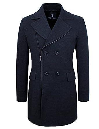 Tom's Ware Manteau a Double Boutonnage-Zip up -Melange de Laine- Hommes TWCC01-CHARCOAL-2XL (EU XL)