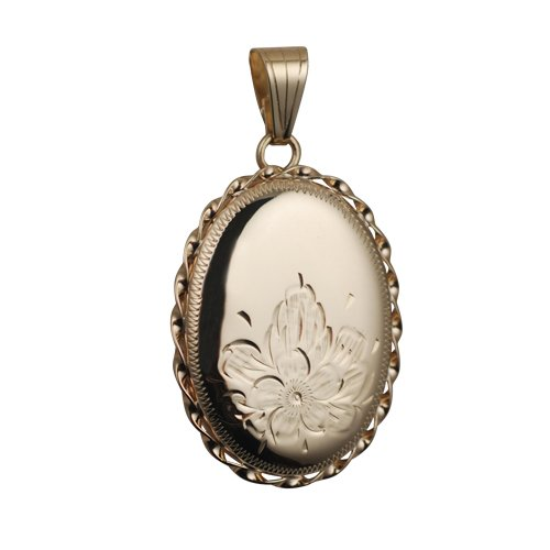 9ct Gold 29x22mm engraved flower design twisted wire edge oval Locket