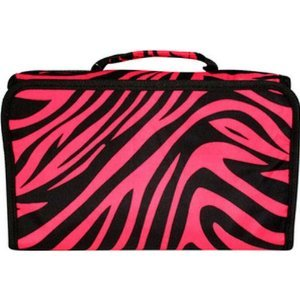 Pink Black Zebra Travel Hanging Cosmetic Case Bag