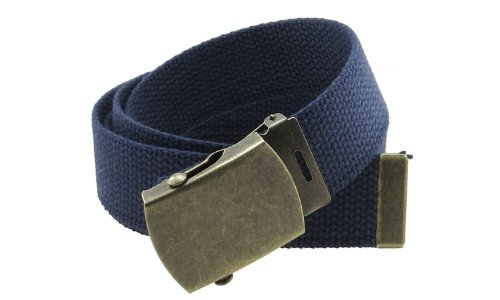 "Canvas Web Belt Military Style with Antique Brass Buckle and Tip 50"" Long (Navy)"