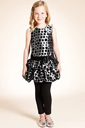 Autograph Spot Print Flock Dress & Leggings Set