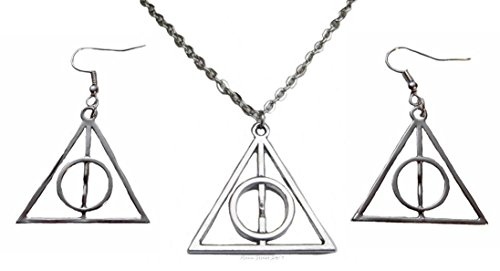 Harry Potter DEATHLY HALLOWS Silvertone French Wire Pendant & Earrings SET