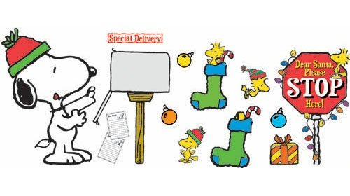 Eureka Snoopy Christmas Special Delivery Bulletin Board Set, 17 Reusable Punch Out Pieces front-697234