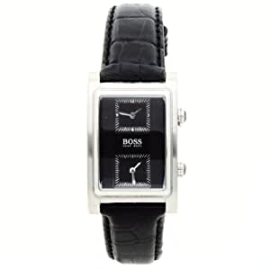 Hugo Boss Mens Quartz Black Dial Stainless Steel Rectangle Dual Time Leather Watch 1512192