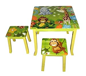 4Gr8 Kidz Jungle Series Kids Wooden Square Table and Chairs Set