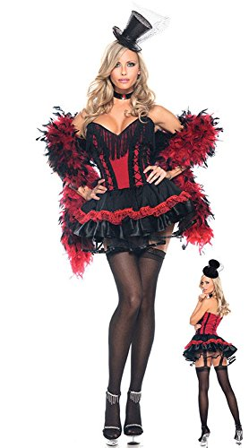 GALHAM - Red Black Sexy Adult Speakeasy Saloon Girl Fancy Dress Costume