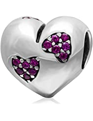 Choruslove Valentines Gift Heart Love With Fuchsia Cz Charm 925 Sterling Silver Bead For European Bracelet Jewelry