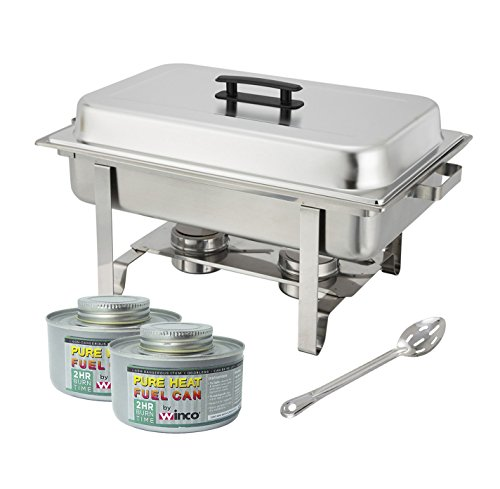 Winware Stainless Steel Full Size Chafer, 8 Quart Chafing Dish Set with 2 Chafing Dish 2h Fuels and 15-Inch Stainless Steel Slotted Serving Spoon