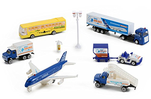 Airlines International Airplane Diecast Airport Playset, 13-piece