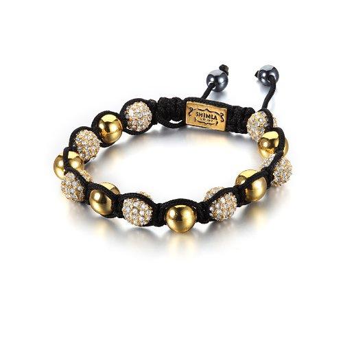 Shimla Crystal Bead Bracelet - Gold Plated White Cubic Zirconia Crystal Beads with Gold Plated Metal Beads of 7-12cm