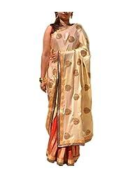 Natasha Couture Cream & Red Semi Chiffon & Semi Silk Saree For Women