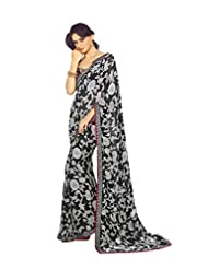 AG Lifestyle Black & Gray Georgette Saree With Unstitched Blouse SNS223