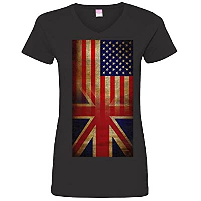 Ladies V-Neck: Vintage USA British Distress Flag T-Shirt